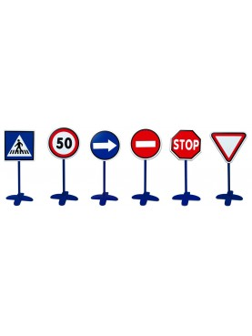 6 Traffic Signs with Posts