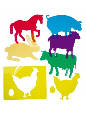 Plantillas Educativas Traslúcidas: Animales de Granja