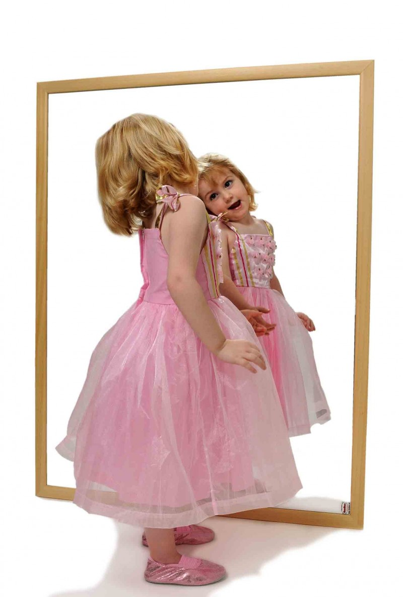 children mirror natural wood snap edulink s l