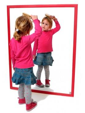Espejo de seguridad con marco de madera (100x65cm)